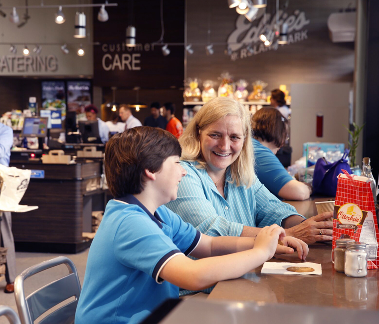 woman and son at eddies